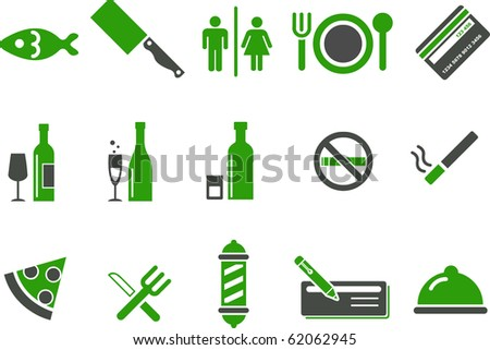 Vector icons pack - Green Series, bar and restaurant collection - stock vector