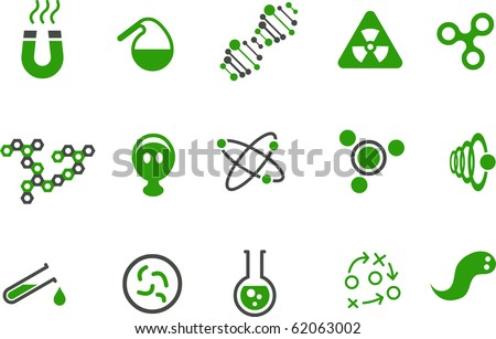 Vector icons pack - Green Series, chemistry collection - stock vector