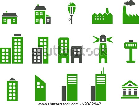 Vector icons pack - Green Series, city collection - stock vector