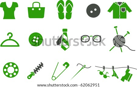 Vector icons pack - Green Series, clothing collection - stock vector