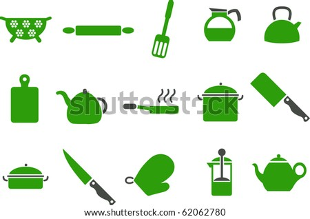 Vector icons pack - Green Series, cooking tools collection - stock vector