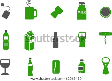 Vector icons pack - Green Series, drinking collection - stock vector