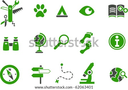 Vector icons pack - Green Series, exploration collection - stock vector