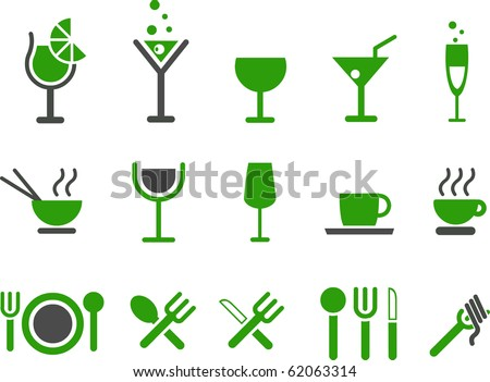 Vector icons pack - Green Series, food collection - stock vector
