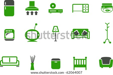 Vector icons pack - Green Series, furniture collection - stock vector