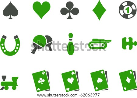 Vector icons pack - Green Series, game collection - stock vector