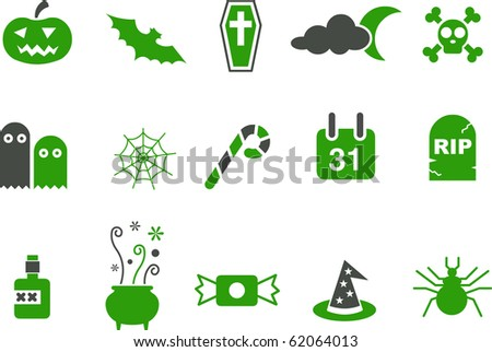 Vector icons pack - Green Series, halloween collection - stock vector