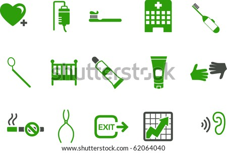 Vector icons pack - Green Series, health collection - stock vector