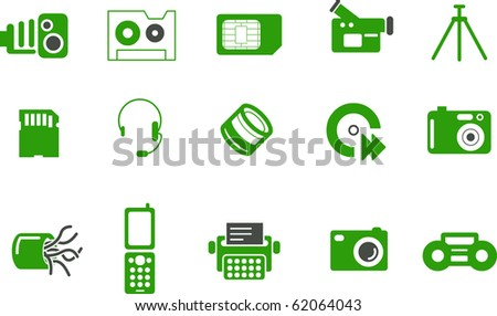 Vector icons pack - Green Series, hi-tech collection - stock vector