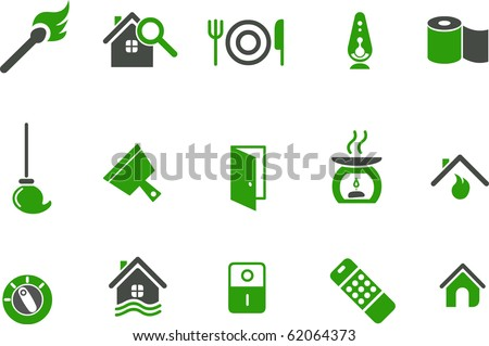 Vector icons pack - Green Series, house collection - stock vector