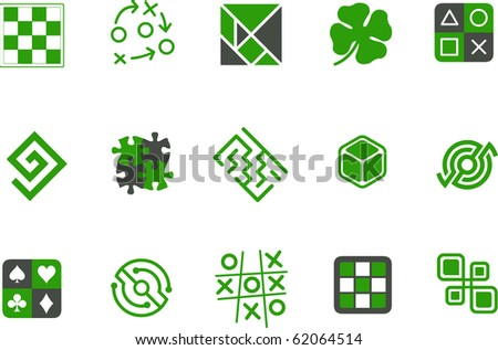 Vector icons pack - Green Series, jigsaw collection - stock vector