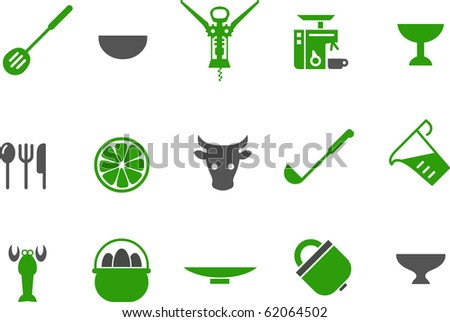 Vector icons pack - Green Series, kitchen collection - stock vector