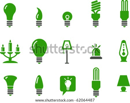 Vector icons pack - Green Series, lamps collection - stock vector