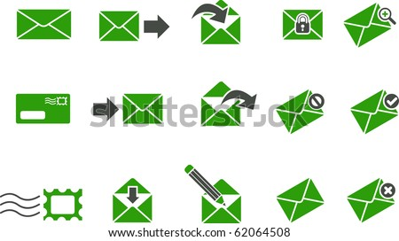 Vector icons pack - Green Series, mail collection - stock vector