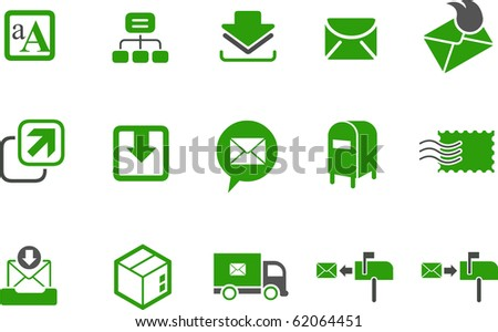 Vector icons pack - Green Series, mailing collection - stock vector