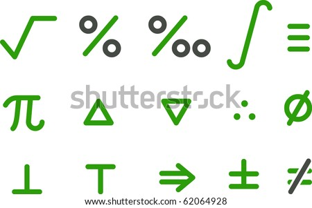 Vector icons pack - Green Series, math collection - stock vector