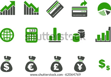 Vector icons pack - Green Series, money collection - stock vector