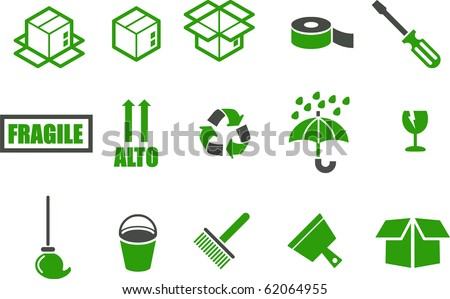 Vector icons pack - Green Series, moving collection - stock vector