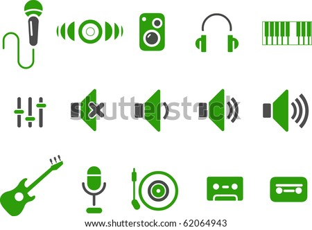 Vector icons pack - Green Series, music collection - stock vector