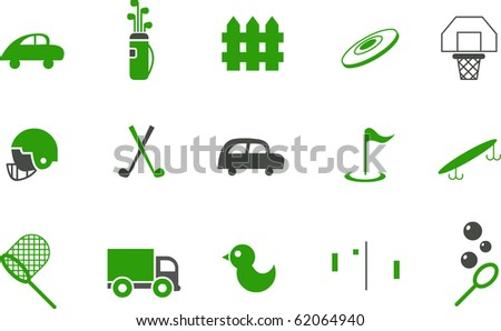 Vector icons pack - Green Series, outdoor collection - stock vector