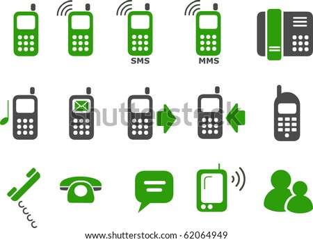 Vector icons pack - Green Series, phones collection - stock vector