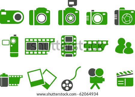 Vector icons pack - Green Series, photo collection - stock vector
