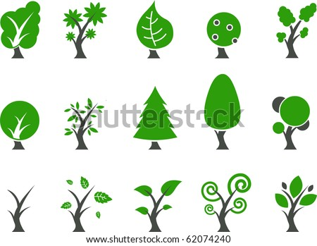 Vector icons pack - Green Series, tree collection - stock vector