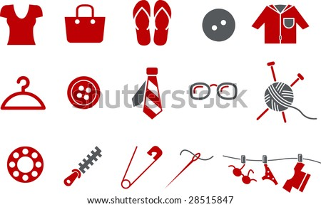 Vector icons pack - Red Series, clothing collection - stock vector