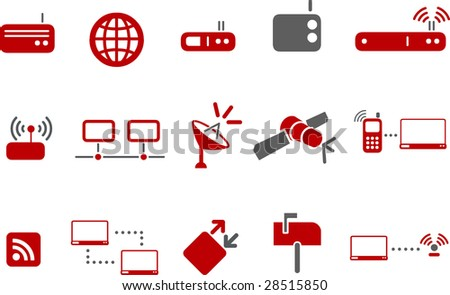 Vector icons pack - Red Series, communication collection - stock vector