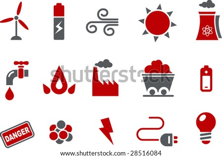 Vector icons pack - Red Series, energy collection - stock vector
