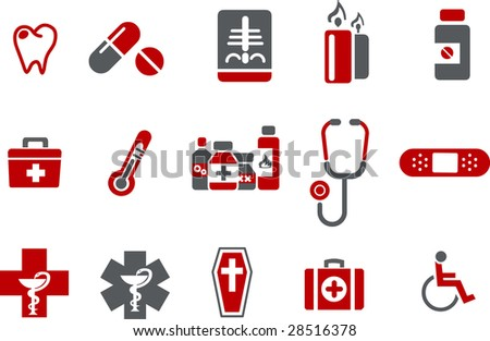 Vector icons pack - Red Series, health collection - stock vector