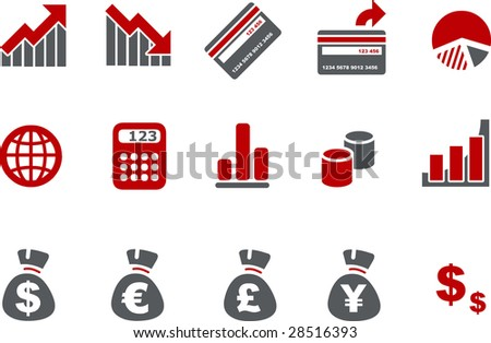 Vector icons pack - Red Series, money collection - stock vector