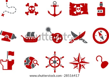 Vector icons pack - Red Series, pirate collection - stock vector