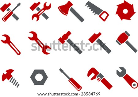 Vector icons pack - Red Series, tool collection - stock vector