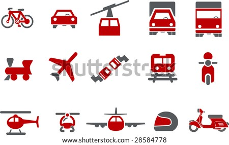 Vector icons pack - Red Series, transport collection - stock vector