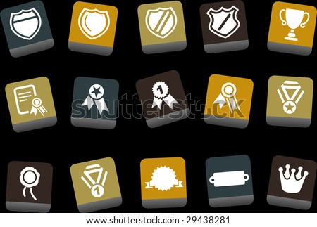 Vector icons pack - Yellow-Brown-Blue Series, badges collection - stock vector