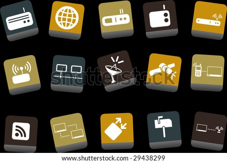 Vector icons pack - Yellow-Brown-Blue Series, communication collection - stock vector