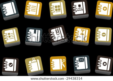 Vector icons pack - Yellow-Brown-Blue Series, document collection - stock vector