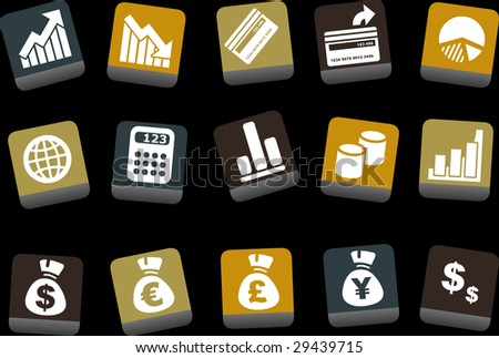Vector icons pack - Yellow-Brown-Blue Series, money collection - stock vector