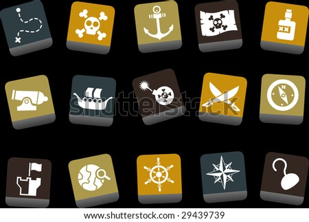 Vector icons pack - Yellow-Brown-Blue Series, pirate collection - stock vector