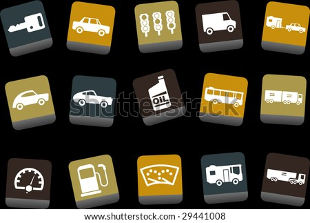 Vector icons pack - Yellow-Brown-Blue Series, transport collection
