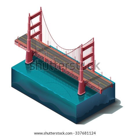Vector icons set. Bridge over the river,design, unit structure. 3d concept top view. San Francisco Golden Gate Bridge. California landmarks