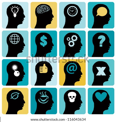 Vector Icons set head think silhoutte vector - stock vector