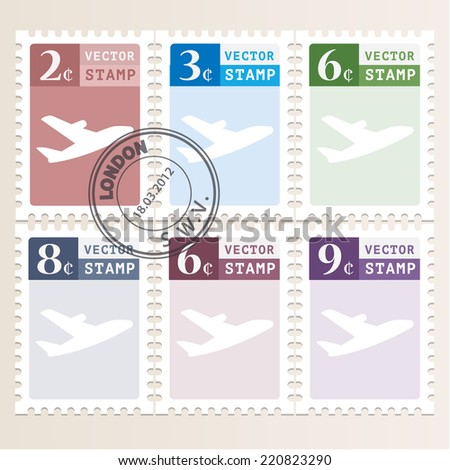 Vector icons set mail stamps - stock vector