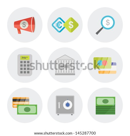 Vector icons set of finance objects in modern flat design. Isolated on white background - stock vector