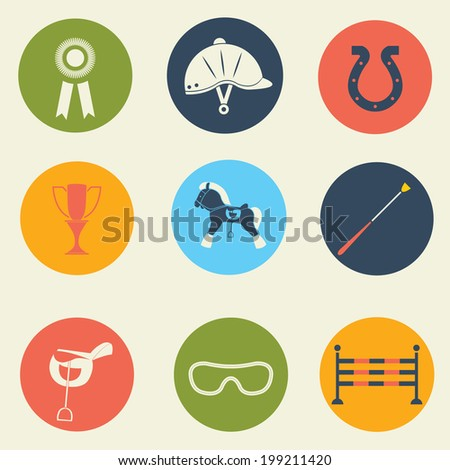 Vector icons set of horse rider sport / Horse equipment / Equine icons / Horse racing icons - stock vector