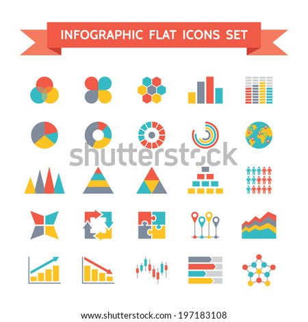 Vector Icons Set of Infographic Concept Illustration in Flat Design Style on white background for creative business and design projects. - stock vector