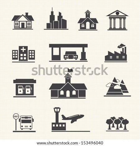 Vector icons set of places. - stock vector