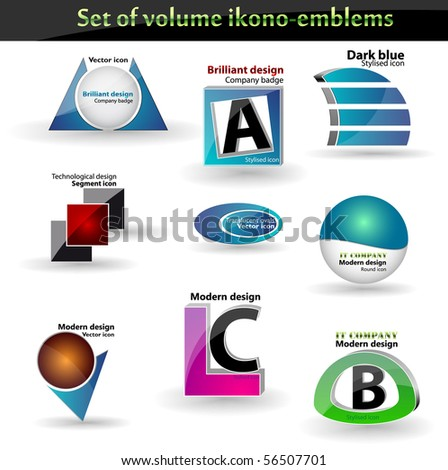 vector icons set: shiny and 3d - stock vector