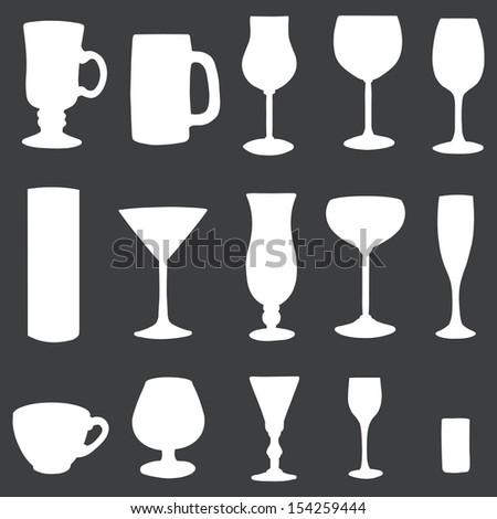 vector icons set: white stemware on dark background - stock vector